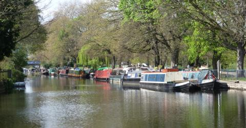 Photo of moored boats in London