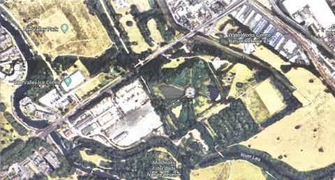 Aerial photo of the Thames Water site, nature reserve and lammas lands